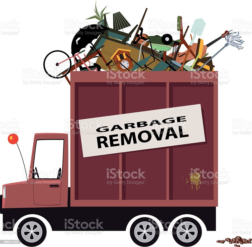Garbage removal service vector art illustration