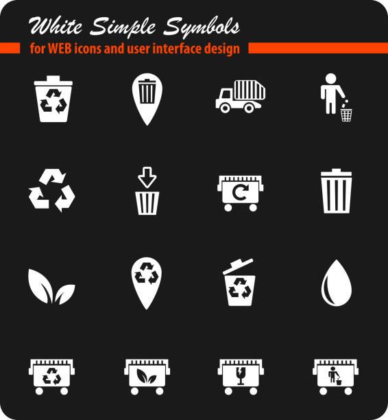 müll einfach symbole - altglas stock-grafiken, -clipart, -cartoons und -symbole