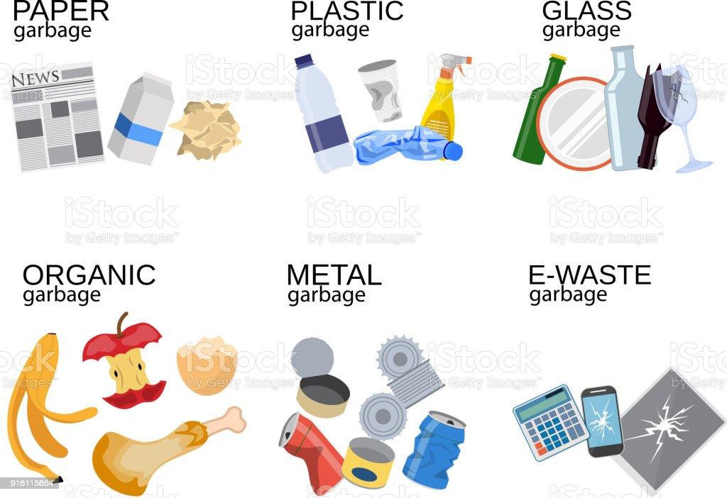 Garbage sorting food waste, glass, metal royalty-free garbage sorting food waste glass metal stock illustration - download image now