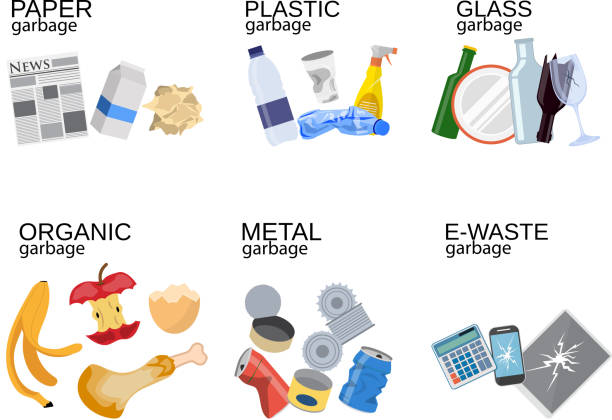 garbage sorting food waste, glass, metal - recycling stock illustrations