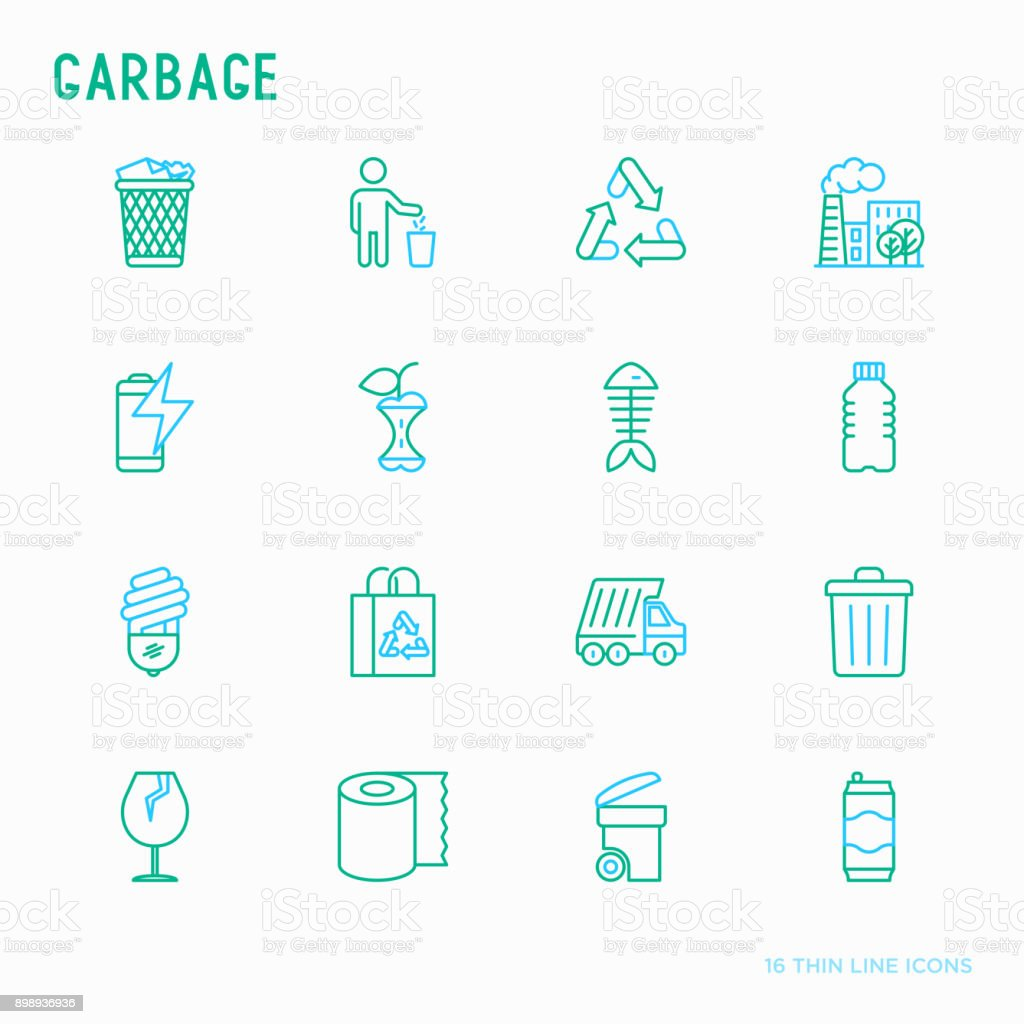 Garbage thin line icons set: garbage bin, organic trash, garbage truck, glass, recycled paper, aluminium, battery, plastic bottle. Modern vector illustration. royalty-free garbage thin line icons set garbage bin organic trash garbage truck glass recycled paper aluminium battery plastic bottle modern vector illustration stock illustration - download image now