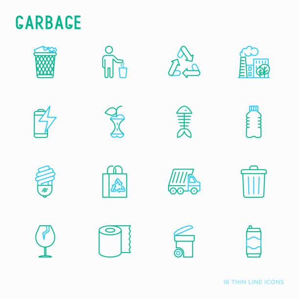 müll dünne linie symbole satz: mülltonne, organischer müll, müllwagen, glas, recycling-papier, aluminium, batterie, kunststoff-flasche. moderne vektor-illustration. - fischglas stock-grafiken, -clipart, -cartoons und -symbole