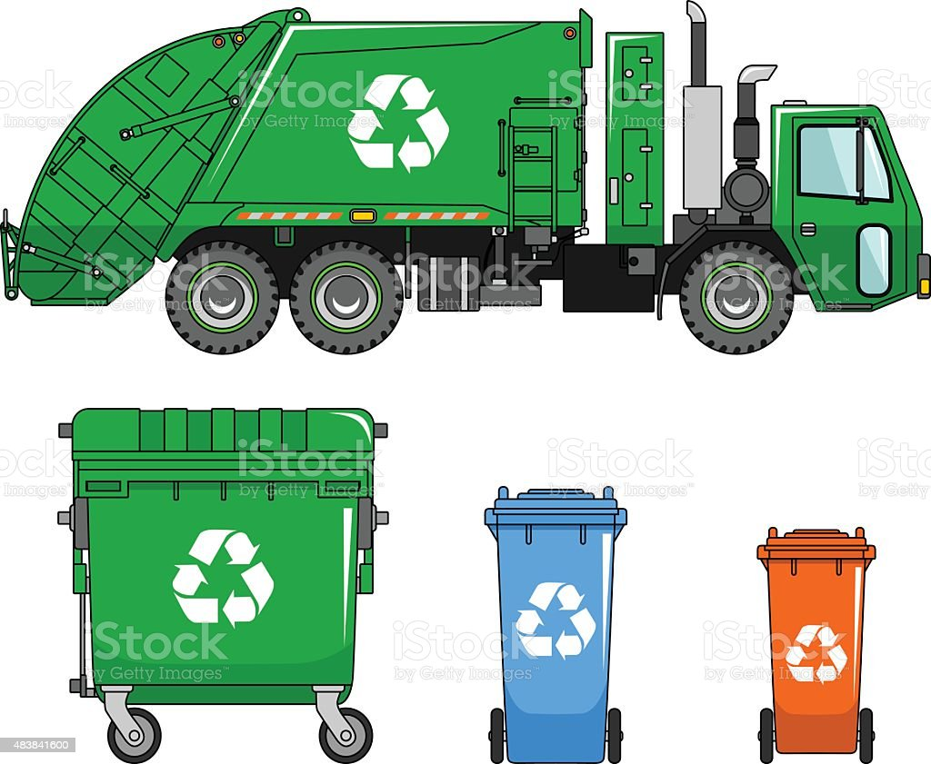 Garbage truck and different types of dumpsters vector art illustration