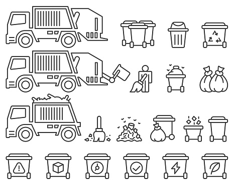 Garbage truck and sanitation vector set