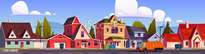 istock Garbage truck clean city waste, car collect trash 1266146645