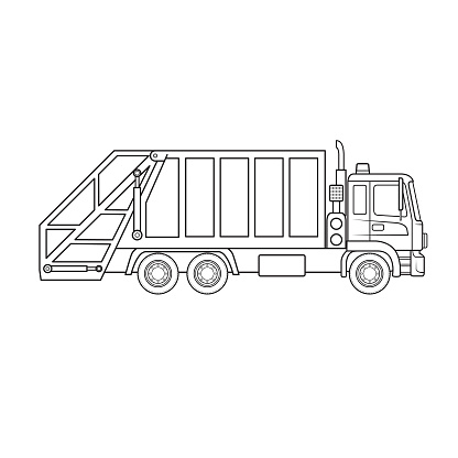 Garbage truck dustcart machine vehicle cartoon. Only black and white for coloring page, children book.