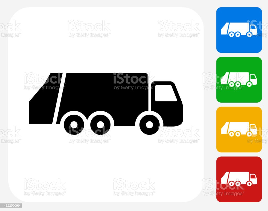 Garbage Truck Icon Flat Graphic Design vector art illustration