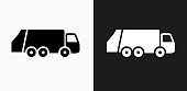 Garbage Truck Icon on Black and White Vector Backgrounds