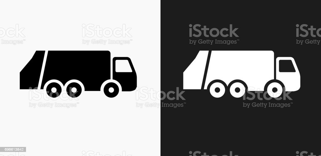 Garbage Truck Icon on Black and White Vector Backgrounds vector art illustration