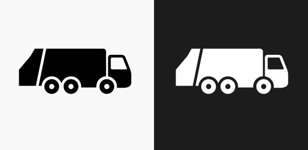 Garbage Truck Icon On Black And White Vector Backgrounds Art Illustration