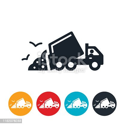 An icon of a garbage truck unloading garbage.