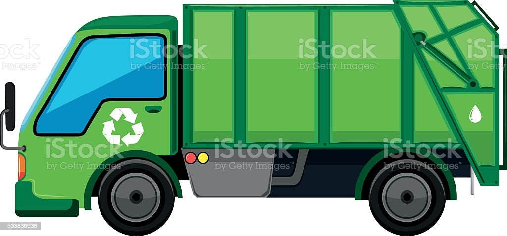 garbage truck in green color royalty free stock vector art