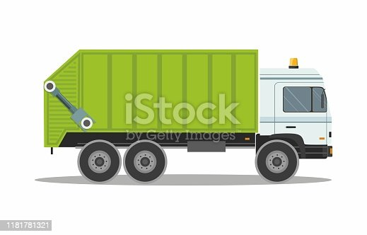 Green Garbage Truck isolated on white background. Vector illustration