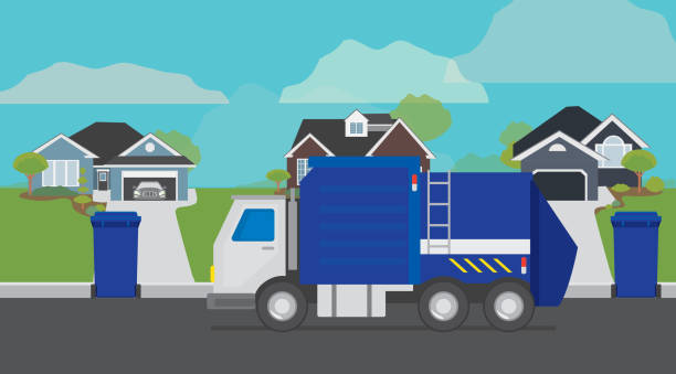 Garbage truck lifting garbage can on a residential suburban street vector art illustration