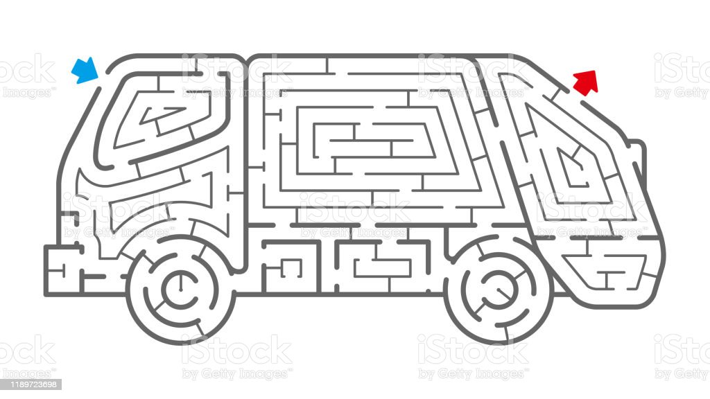 Garbage Truck Maze Stock Illustration Download Image Now Istock
