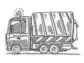 Garbage Truck Side View Drawing