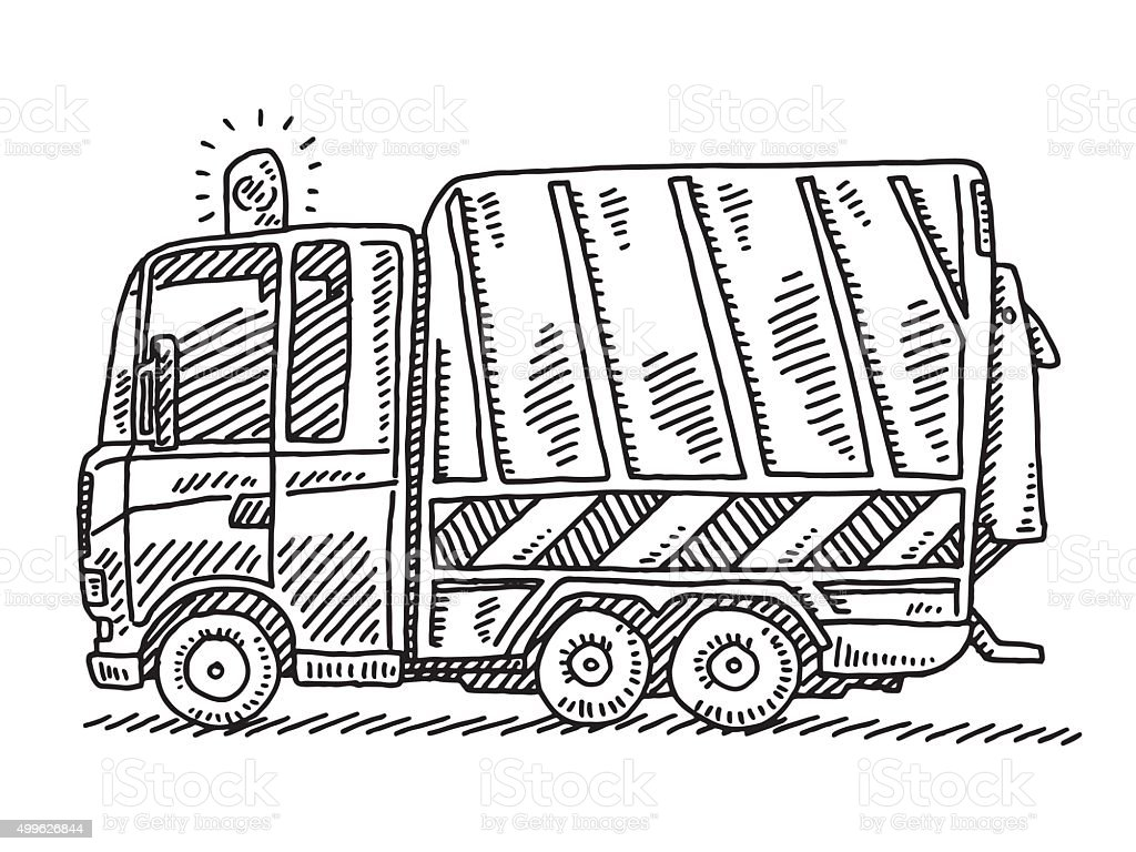 Garbage Truck Side View Drawing vector art illustration