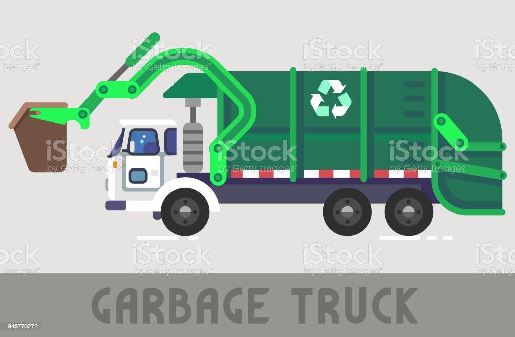 Garbage Truck vector art illustration