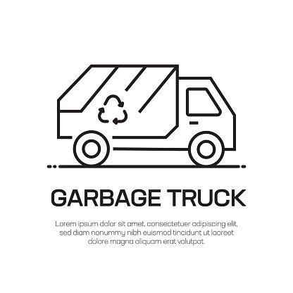Garbage Truck Vector Line Icon - Simple Thin Line Icon, Premium Quality Design Element