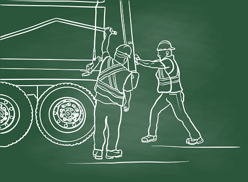 Garbage Truck Workers No Automation Chalkboard