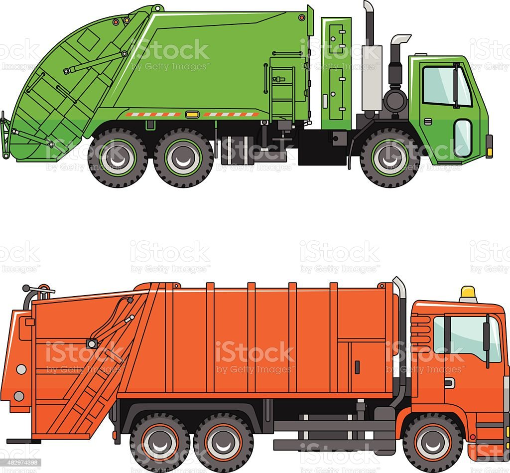 Garbage trucks  on a white background in a flat style vector art illustration
