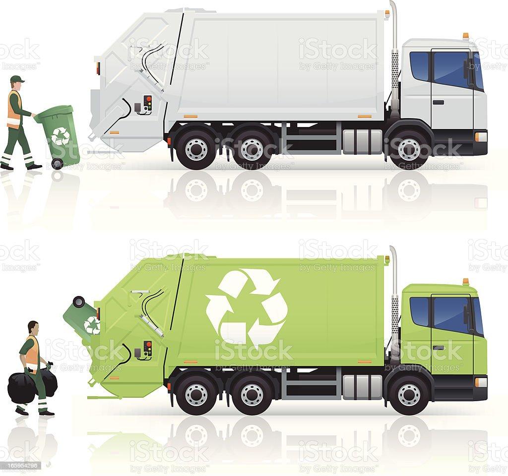 Garbage Trucks vector art illustration