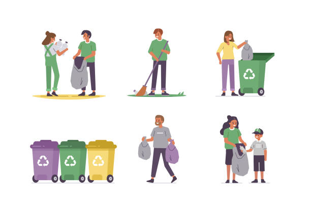 garbage People characters gathering waste and cleaning nature. Woman, man and kid disposing garbage into separate bins. Paper, plastic and other household waste recycling. Flat cartoon vector illustration. choosing stock illustrations