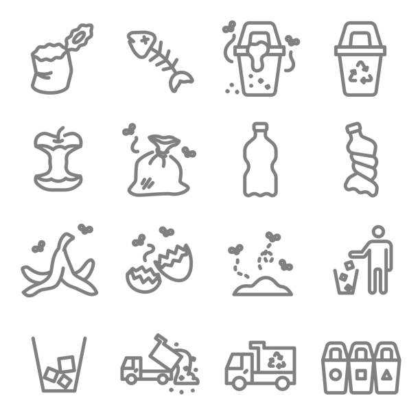 garbage vector line icon set. contains such icons as banana peel, fishbone, eggshell, trash and more. expanded stroke - animal bone stock illustrations