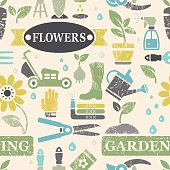 """Seamless vector pattern tile background with grunge and leaf vein texture. Gardening tools, vegetables, flowers, garden decoration. Text """"Flowers"""" and """"Gardening"""". Layered for easy editing. Color can be modified easily, icons are in clipping mask and can be used individually as well."""