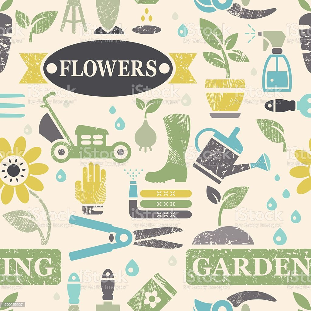 Garden and Gardening Bleached Textured Seamless Background vector art illustration