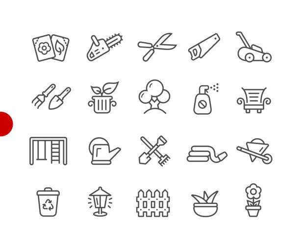 ilustraciones, imágenes clip art, dibujos animados e iconos de stock de jardín y jardinería iconos / / rojo punto serie - backyard