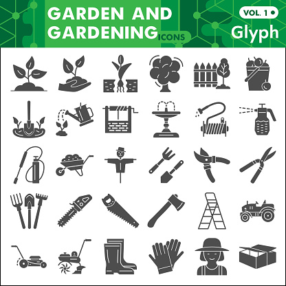 Garden and gardening solid icon set, farming symbols collection or sketches. Agriculture glyph style signs for web and app. Vector graphics isolated on white background.