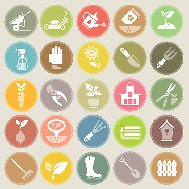 Garden and Gardening Tools Icon Set Large icon set with vector symbols of gardening tools, vegetables, flowers and garden decoration on circle shaped color badges. Objects of this set of design elements can be modified easily. garden center stock illustrations