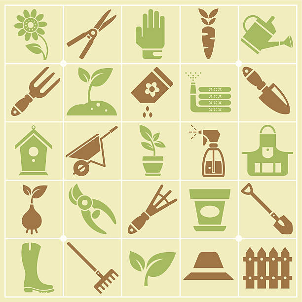 Garden and Gardening Tools Large Color Icon Set Large icon set with brown and green vector silhouette symbols of gardening tools, vegetables, flowers and garden decoration on square shaped color badges. garden center stock illustrations