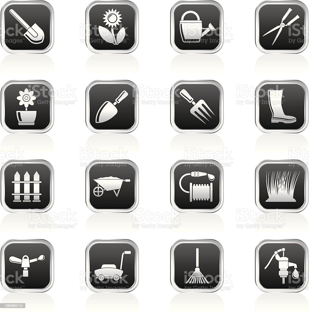 Garden and gardening tools objects icons vector art illustration