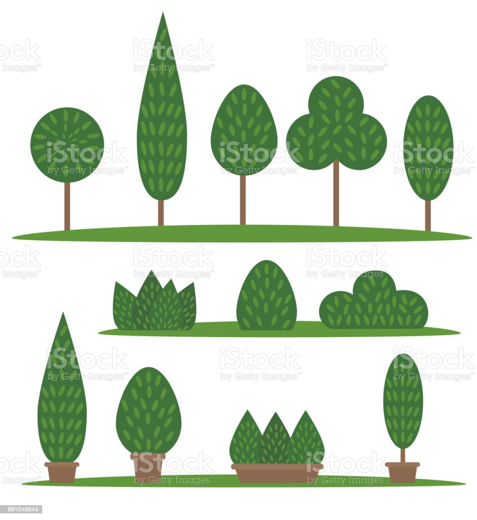 Garden and park set. Cartoon trees and bushes - illustrazione arte vettoriale