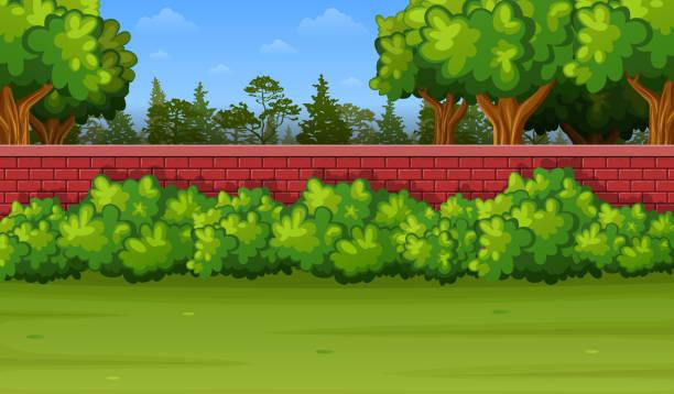 ilustraciones, imágenes clip art, dibujos animados e iconos de stock de jardín fondo con muro de ladrillo y pasto verde - backyard
