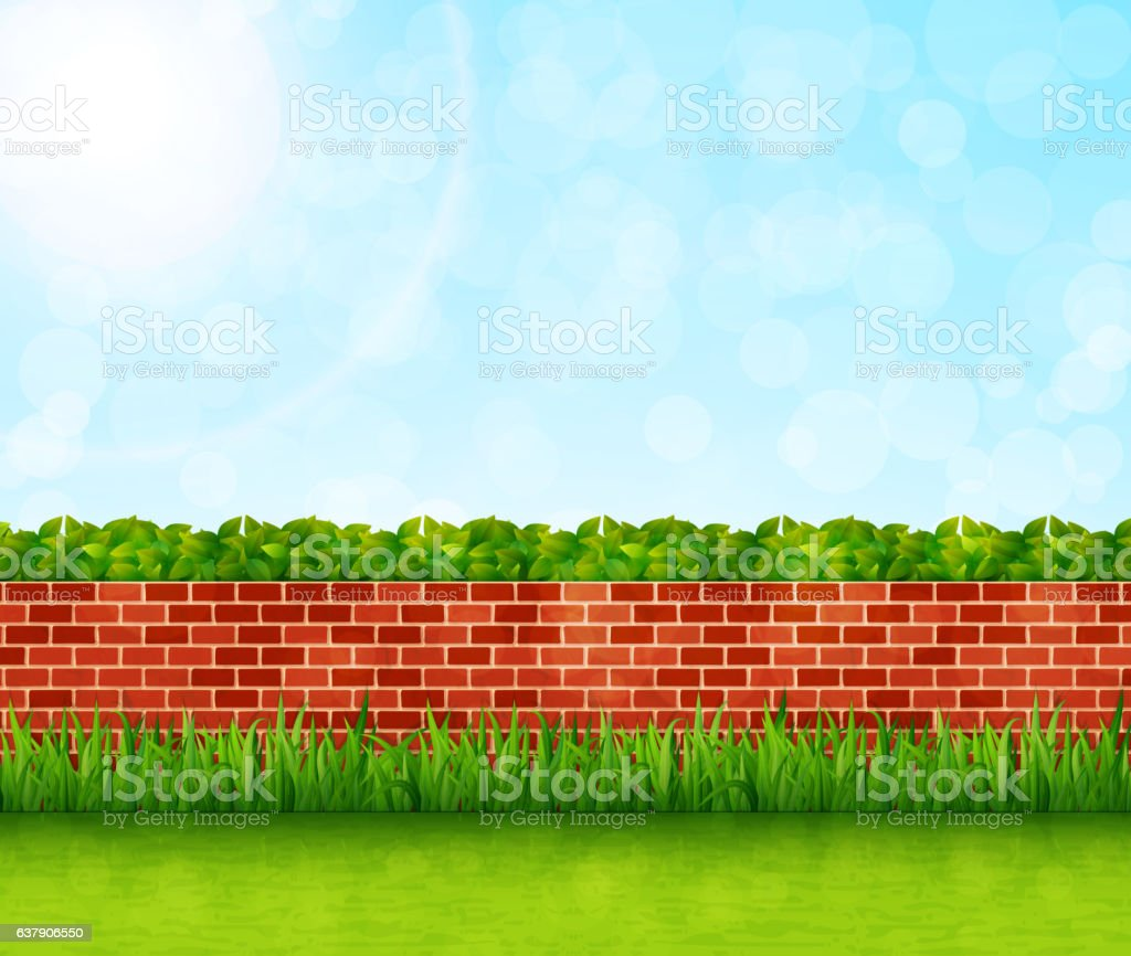 garden background with brick wall and green grass vector stock illustration download image now istock https www istockphoto com vector garden background with brick wall and green grass vector gm637906550 114044489