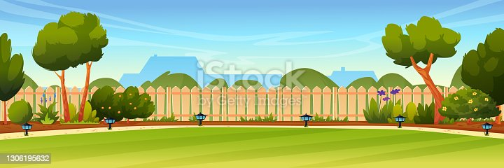 istock Garden backyard with wooden fence hedge, green trees and bushes, grass and flowers, park plants, house on background. Vector spring or summer outside landscape. Farm natural view, eco agriculture 1306195632