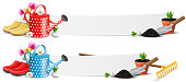 Garden banner set with gardening equipment, watering can and flowers