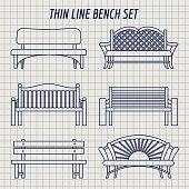 Garden bench set on notebook background