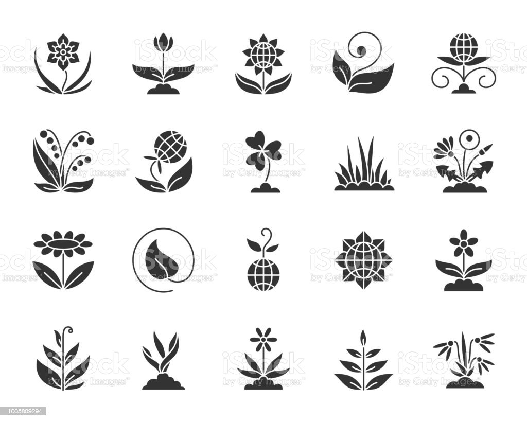 Garden black silhouette icons vector set vector art illustration