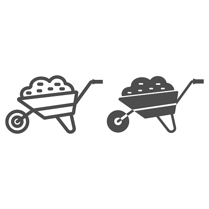 Garden cart line and solid icon, Garden and gardening concept, Wheelbarrow cart sign on white background, trolley with ground icon in outline style for mobile concept and web design. Vector graphics.