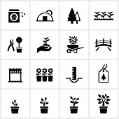 Black Nursery/Garden Center Icons. All white strokes and shapes are cut from the icons and merged.