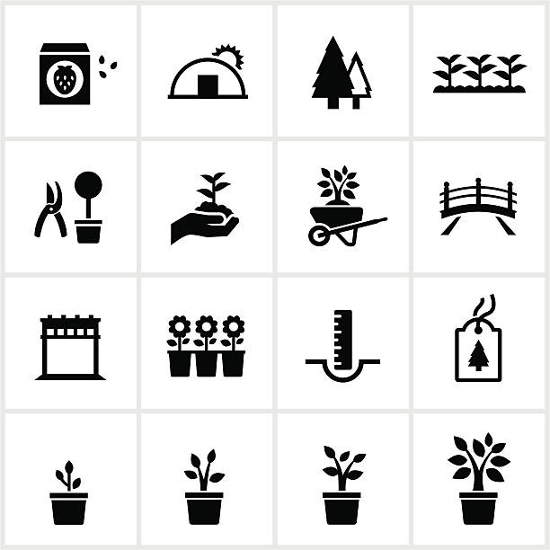 Garden Center and Nursery Icons Black Nursery/Garden Center Icons. All white strokes and shapes are cut from the icons and merged. garden center stock illustrations