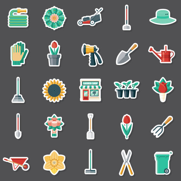 illustrazioni stock, clip art, cartoni animati e icone di tendenza di garden center sticker set - composting