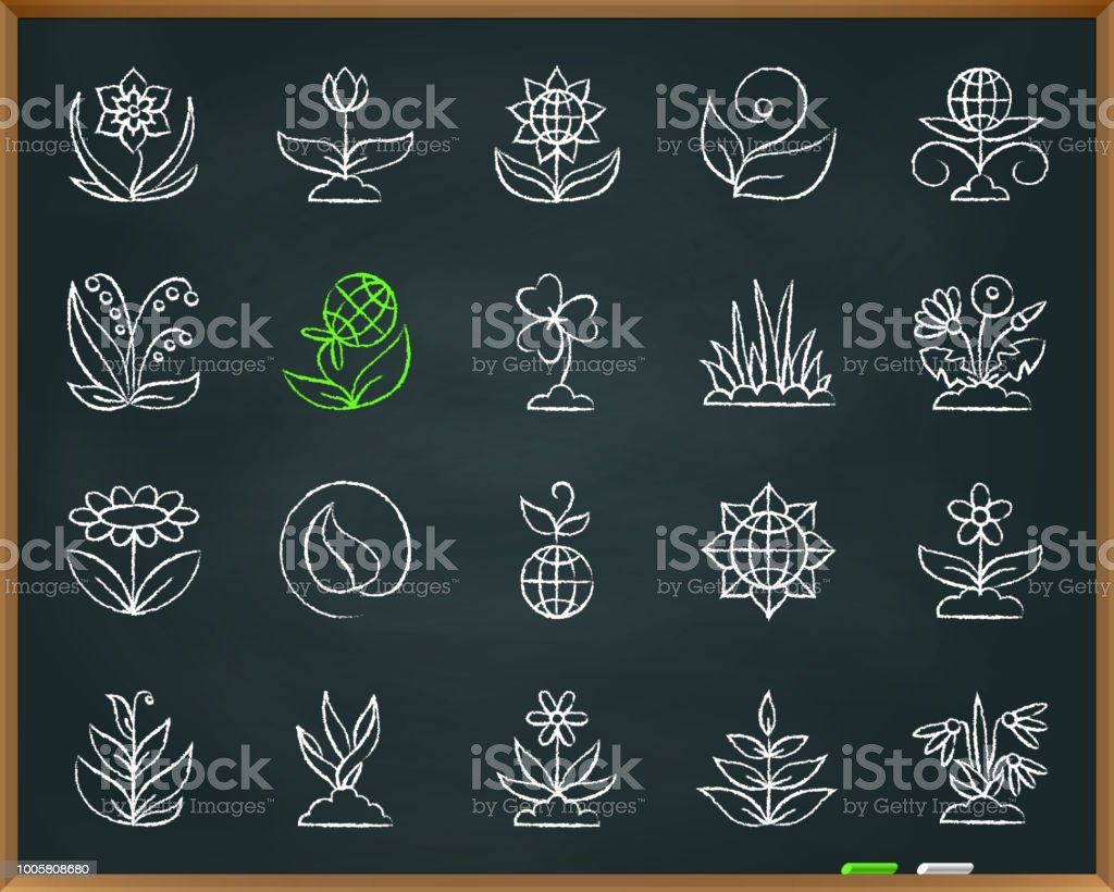 Garden chalk draw line icons vector set vector art illustration