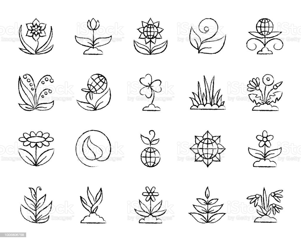 Garden charcoal draw line icons vector set vector art illustration