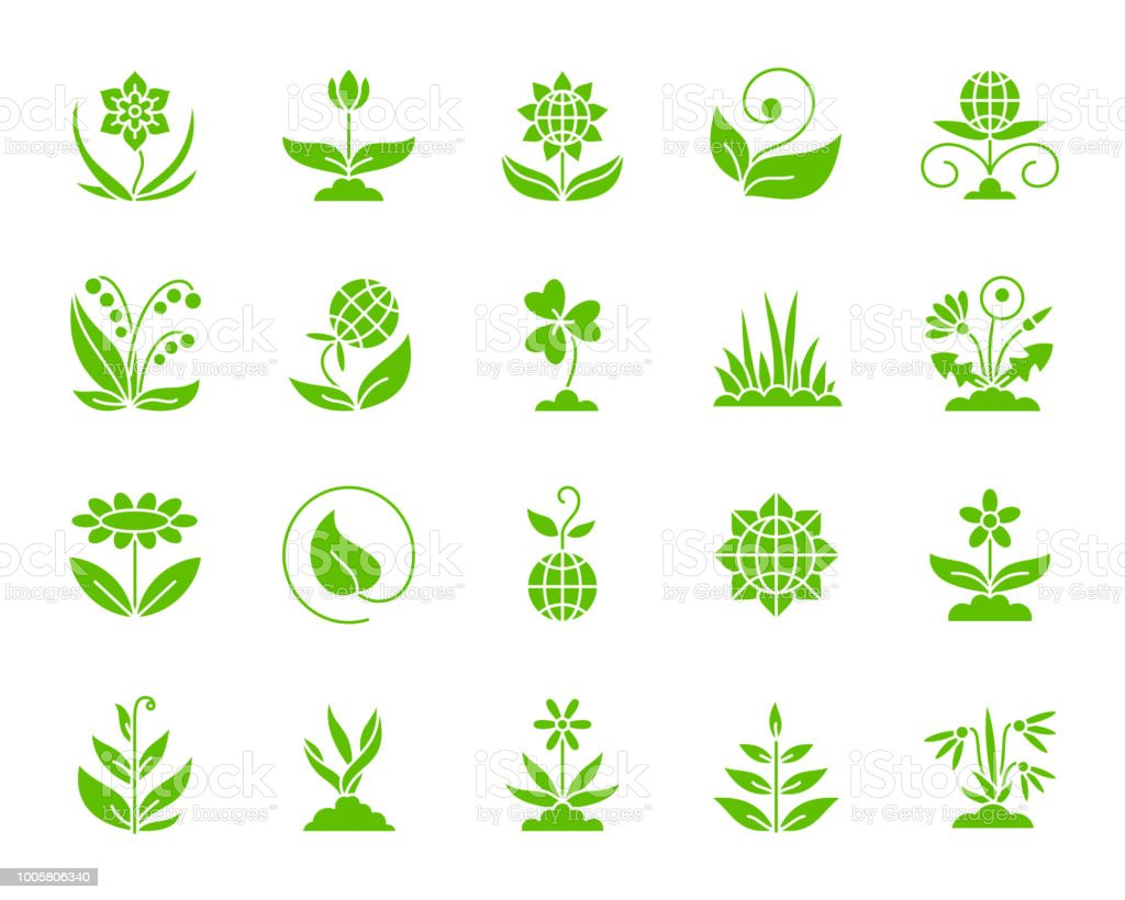 Garden color silhouette icons vector set vector art illustration