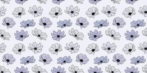 Garden cosmos flower vector pattern background, floral design